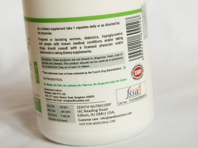 Zenith Nutrition Chaste Berry Capsules Claims