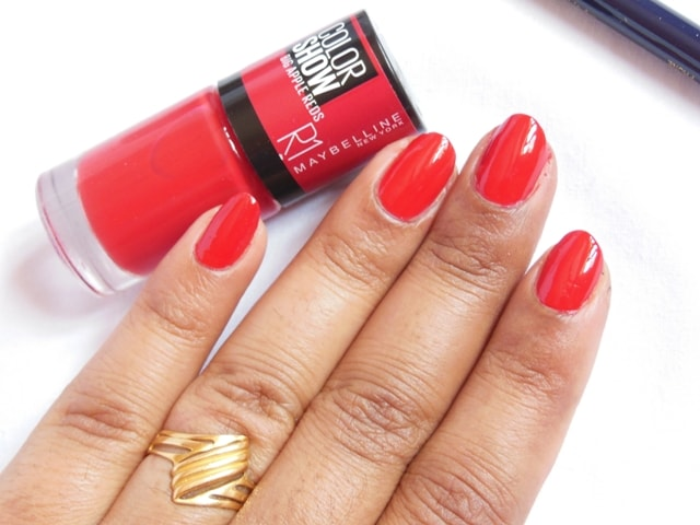 Apple reds color show nail polish paint the town red r1 nail swatch