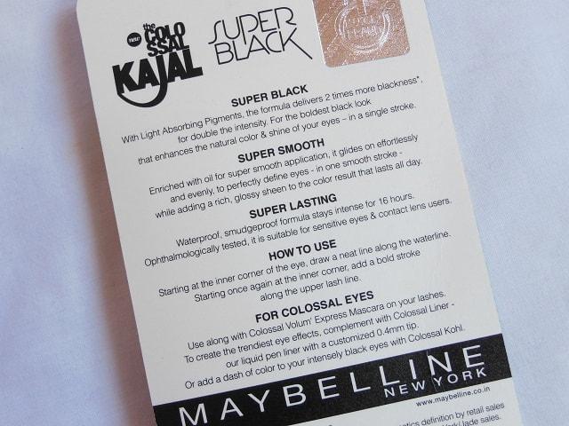 Maybelline Colossal Super Black Kajal Claims