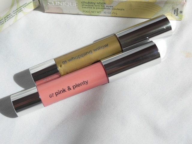 Clinique Chubby Stick Shadow Tint for Eyes- Whooping Willow and Pink Plenty