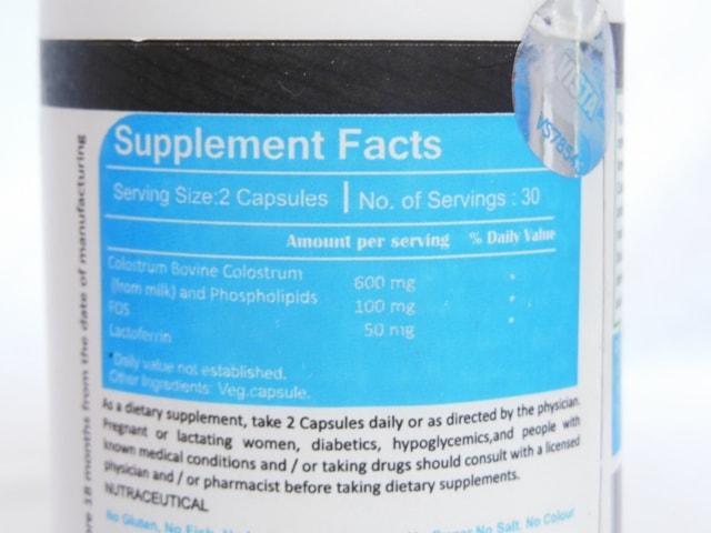 Vista Nutrition Colostrum Super Ingredients