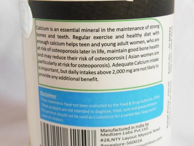 Vista Nutrition Super Calcium Supplement Vegetarian Capsules Claims