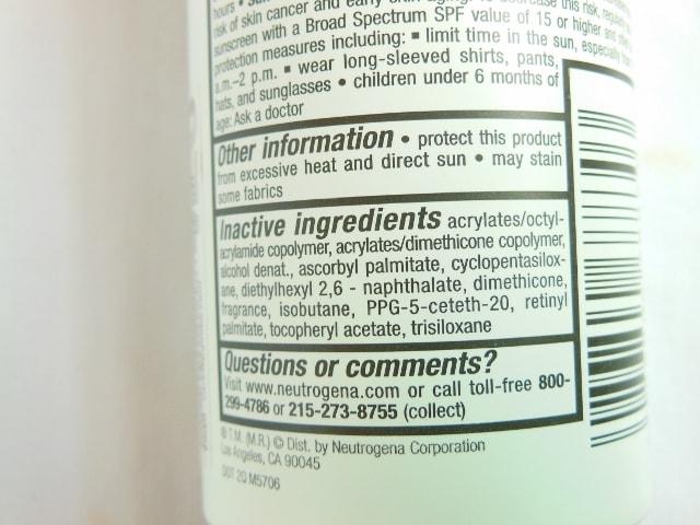 Neutrogena Ultra Sheer Body Mist Sunscreen SPF 30 Directions