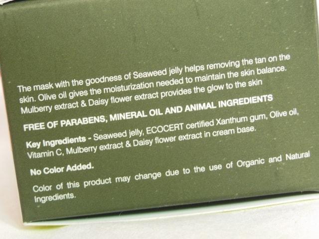 Organic Harvest Anti Tan Mask Ingredients