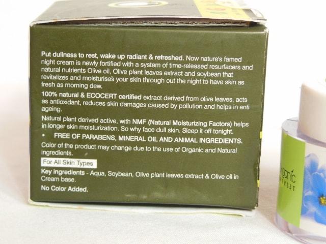 Organic Harvest Daily Nourishing Night Cream Claims