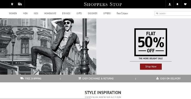 Shoppers Stop Website