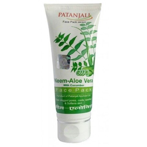 Best Herbal Face Packs for Oily Acne Prone Skin -Patanjali neem, Aloevera and-Cucumber Face Pack