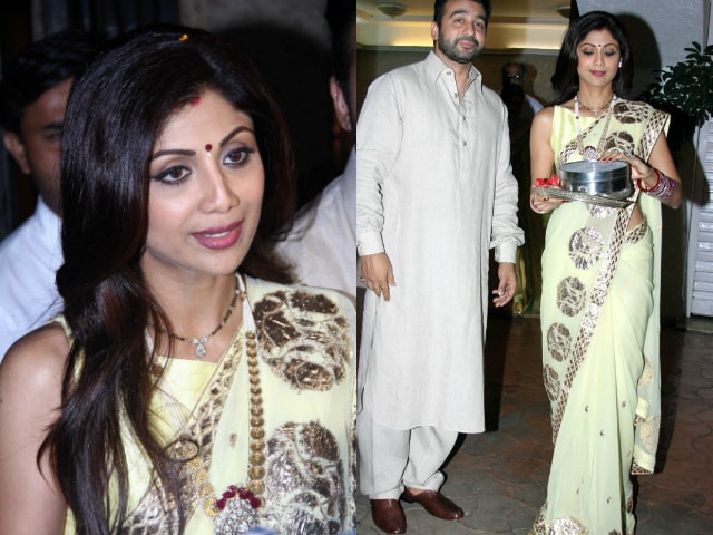 bollywood-celebrities-karwa-chauth-outfit-shilpa-shetty-yellow-saree