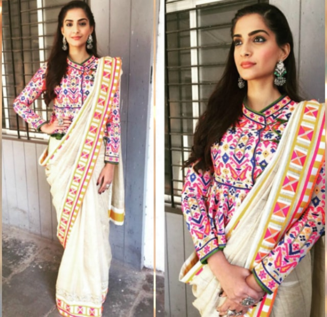 best-ethnic-looks-of-sonam-kapoor-saree-look-colorful