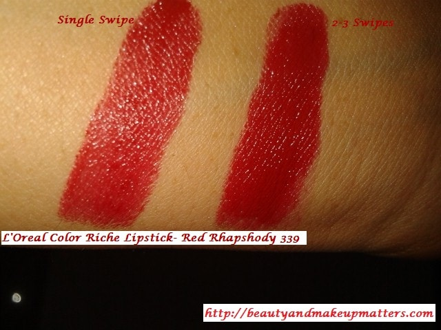 Loreal-Color-Riche-Lipstick-Red-Rhapshody-Swatch