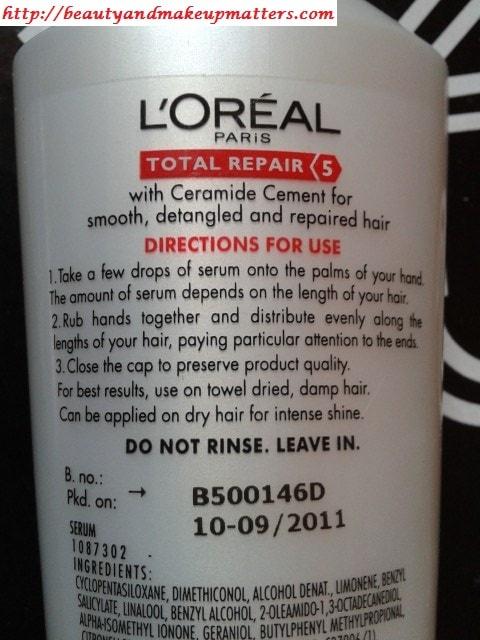 Loreal-Total-Repair-5-Hair-Serum-Usage