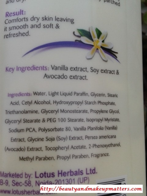 Lotus-Herbals-Vanilla-Velvet-Body-Lotion-Ingredients