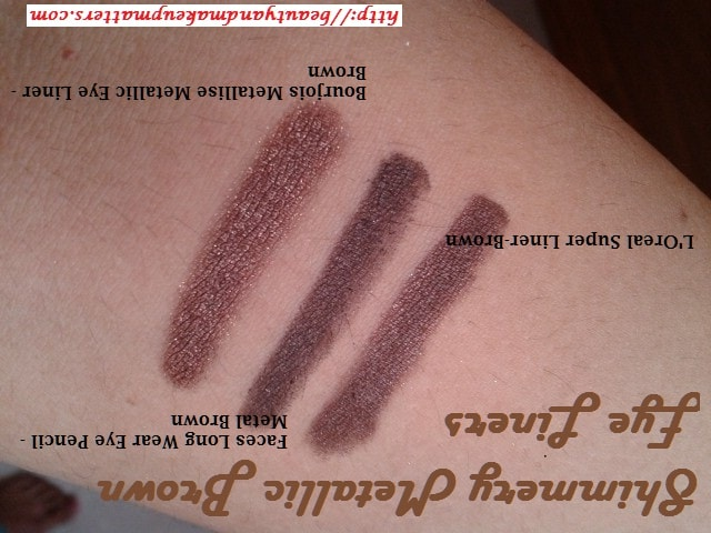 L'Oreal-Super-Liner-Brown-Faces-Metal-Brown-Eye-Pencil-Bourjois-Metallic-Brown-EyeLiner-Swatches