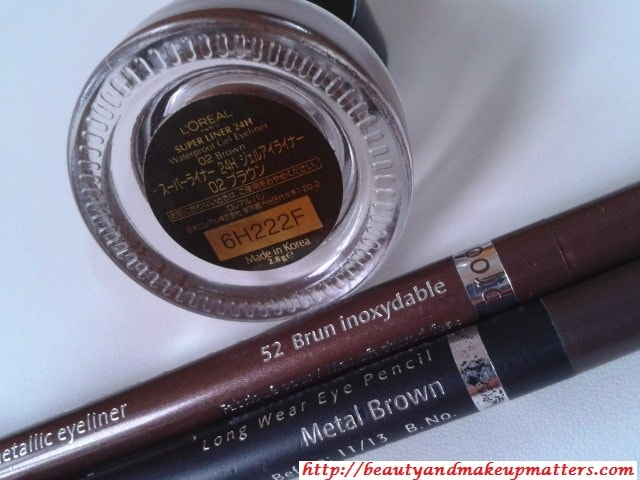 Shimmery-Brown-Eye-Liners-L'Oreal-Bourjois-Faces