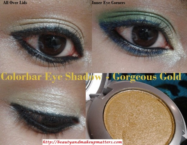 Colorbar-Single-Eye-Shadow-Gorgeous-Gold-EOTD