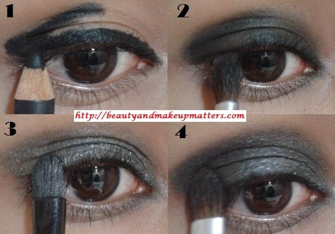 Eye-Makeup-Tutorial-Greyish-Black-Shimmery-Smokey-Eyes-Look1