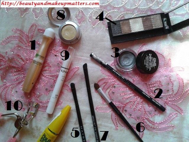 Eye-Makeup-Tutorial-Greyish-Black-Shimmery-Smokey-Eyes-Products-Used