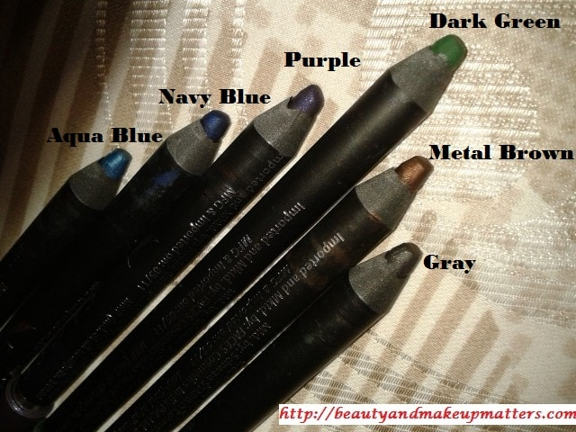 Faces-Canada-Long-Wear-Eye-Pencils-Gray-Navy-Blue-Dark-Green-Aqua-Blue-Purple-Metal-Brown