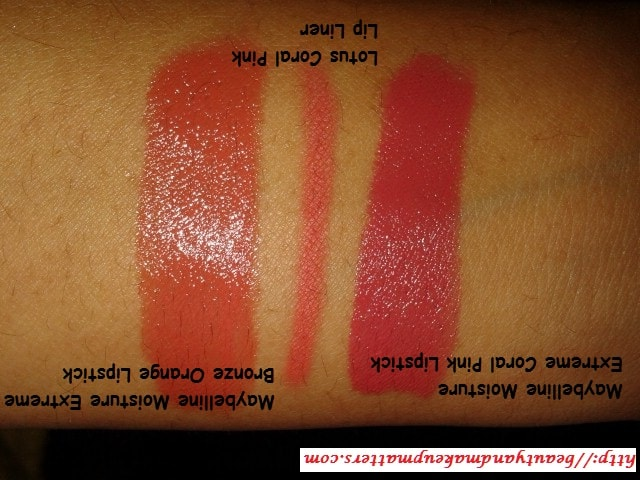 Lotus-Coral-Pink-Lip-Liner-Comparison-Bronze-Orange-and-Coral-Pink-Maybelline-Lipsticks