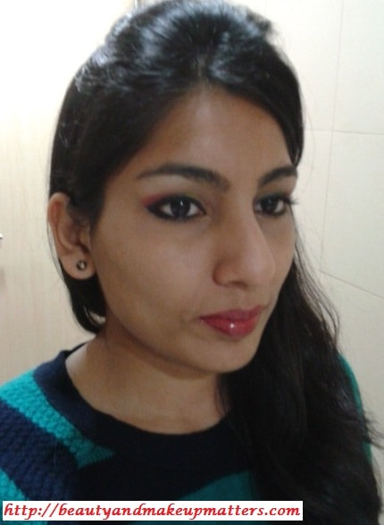 Pink-and-Yellow-Eye-Makeup-Look-Using-Inglot-EyeShadow