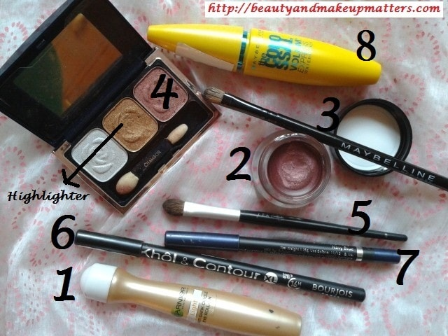 Products-Used-For-Copper-Pink-Eyes-with-Blue-Eye-Liner-Eye-Makeup-Tutorial