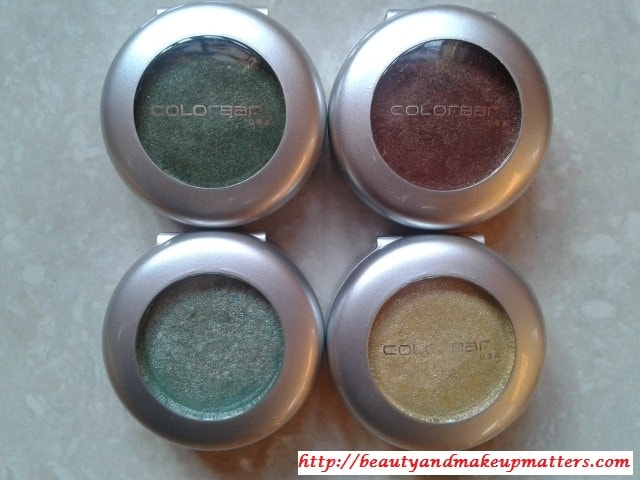 Colorbar-Single-Eyeshadow-SpicyBrown-GreenStroke-Spearmint-GorgeousGold