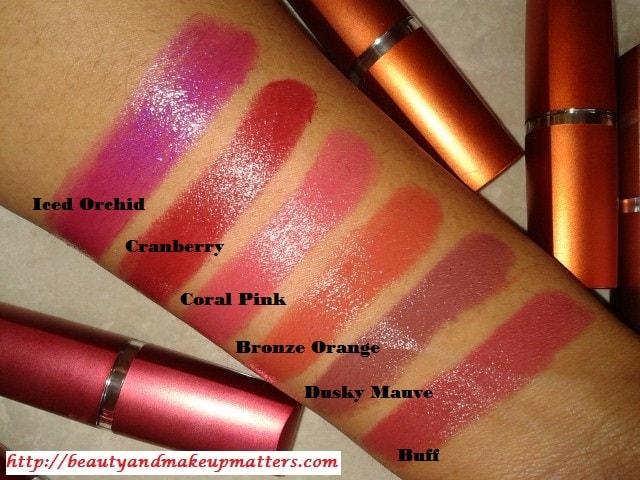 Maybelline-Moisture-Extreme-Lipsticks-Buff-DuskyMauve-BronzeOrange-CoralPink-Cranberry-IcedOrchid-Swatch