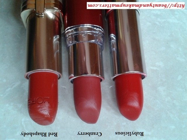 Red-Lipsticks-L'OrealParis-MaybellineJewels-MaybellineMoistureExtreme