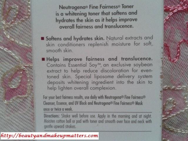 Neutrogena-Fine-Fairness-Toner-Claims