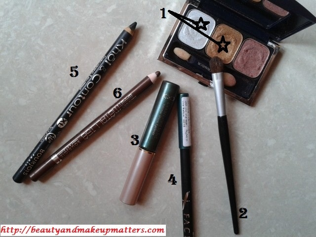 Products-Used-for-BrightGoldenEyesWithGreenLiner-Look