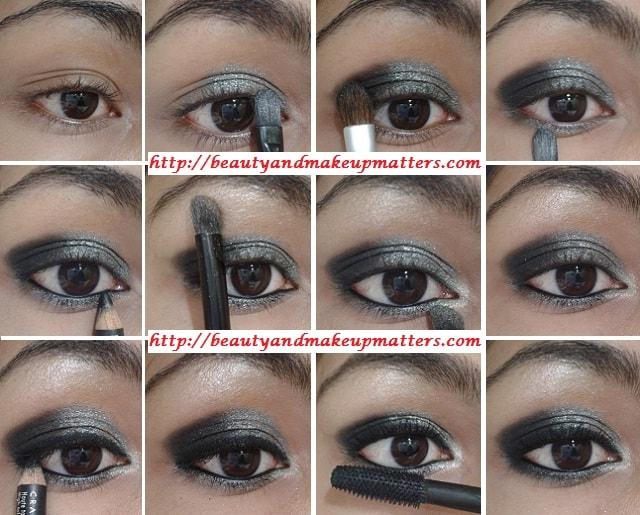 EyeMakeup-Shimmery-Grey&Black-Eyes-Look1
