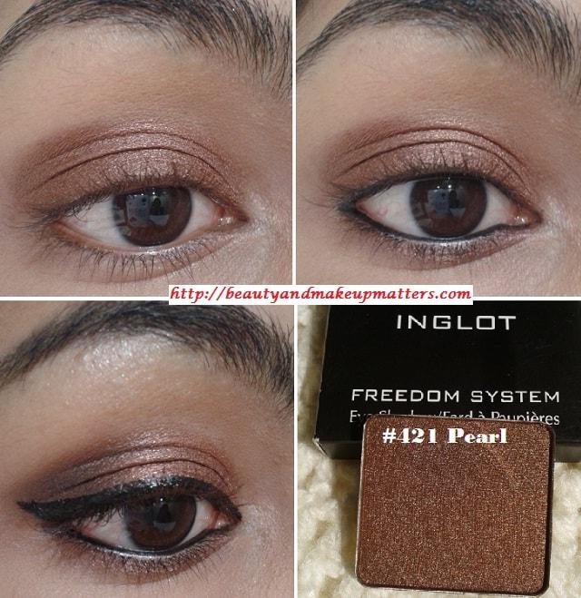 Inglot-Freedom-System-Pearl-EyeShadow-421-EOTD
