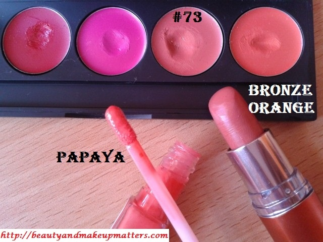 Makeup-Favorites-Oramge-Coral-Lipcolors-Inglot Lipstick #73-Maybelline Bronze Orange-Revlon Papaya Lipgloss