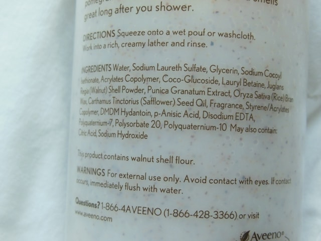 Aveeno Positively Nourishing Smoothing Body Wash Ingredients