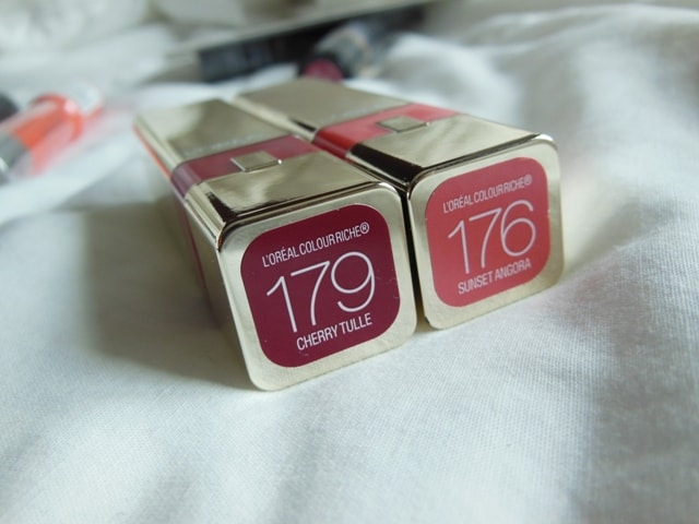 L'Oreal Color Riche Caresse Lipsticks-Cherry Tulle and Sunset Angora
