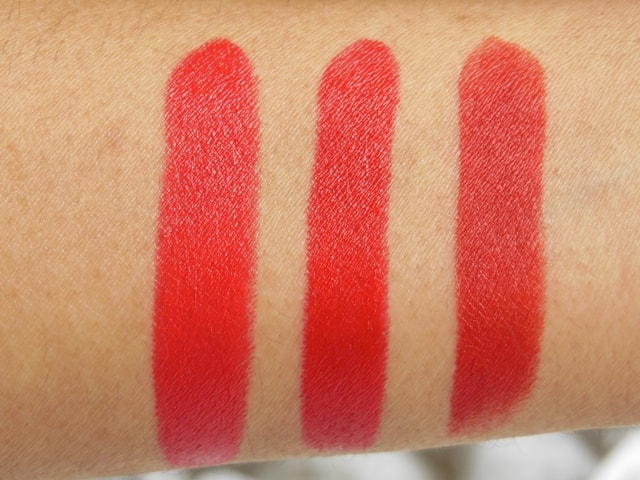 3 Revlon Superlustrous Red Lipstick-Really Red-Love That Red-Fire&Ice-Swatch