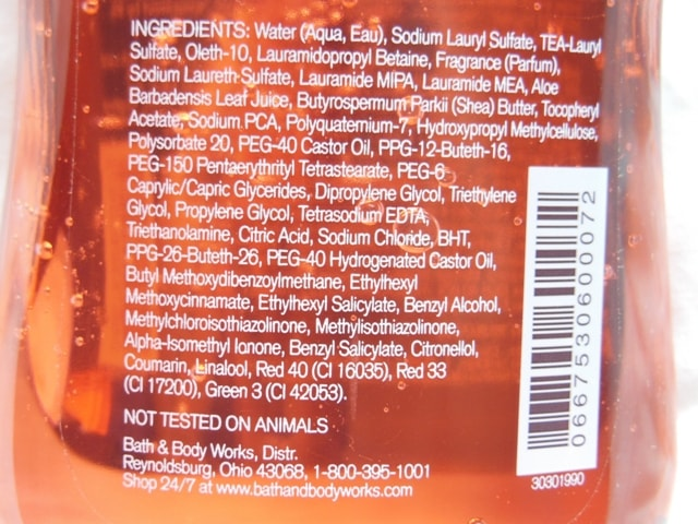 Bath & Body Works Japanese Cherry Blossom Shower Gel Ingredients