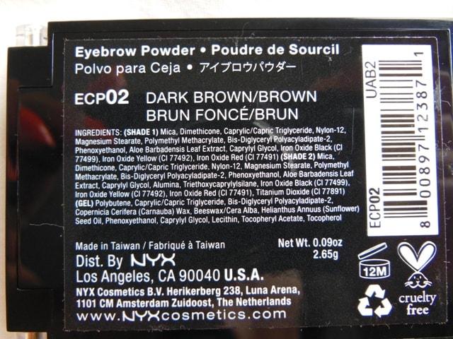 NYX Cosmetcis Eyebrow Cake Powder Ingredients