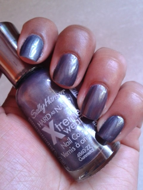 Sally Hansen Hard  As Nails Xtreme Wear Nail Color Gunmetal Nail Swatch
