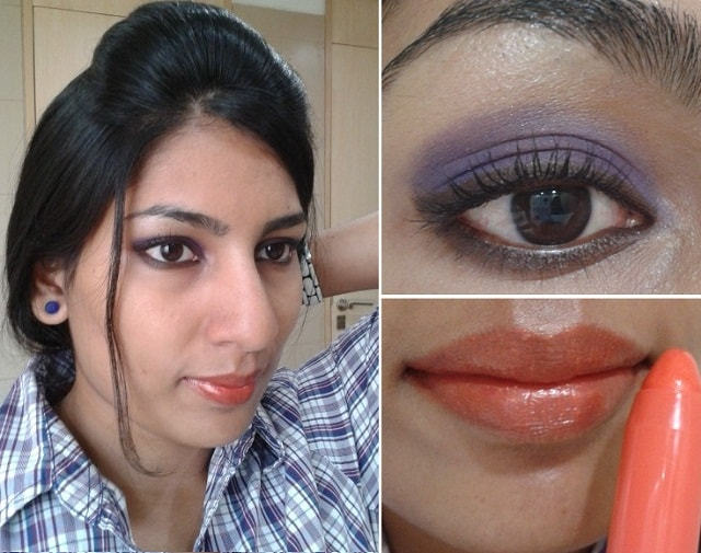 What Am I Wearing Today- Purple eye makeup and Orange lip tint