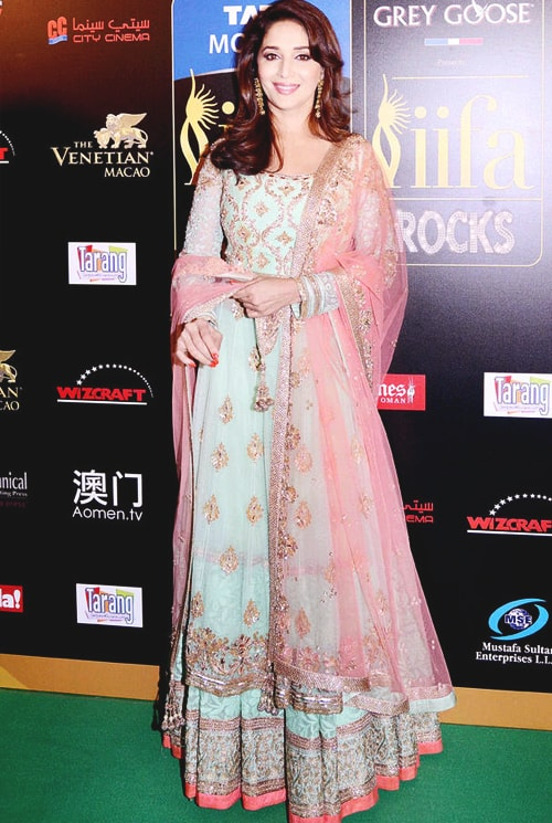 Madhuri Dixit at IIFA Awards 2013 in Mint Green Lehenga