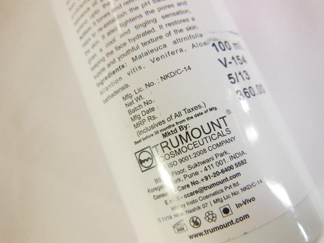 Votre Pore Shrink Toner Ingredients