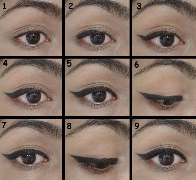 Winged Eye Liner Tutorial Steps