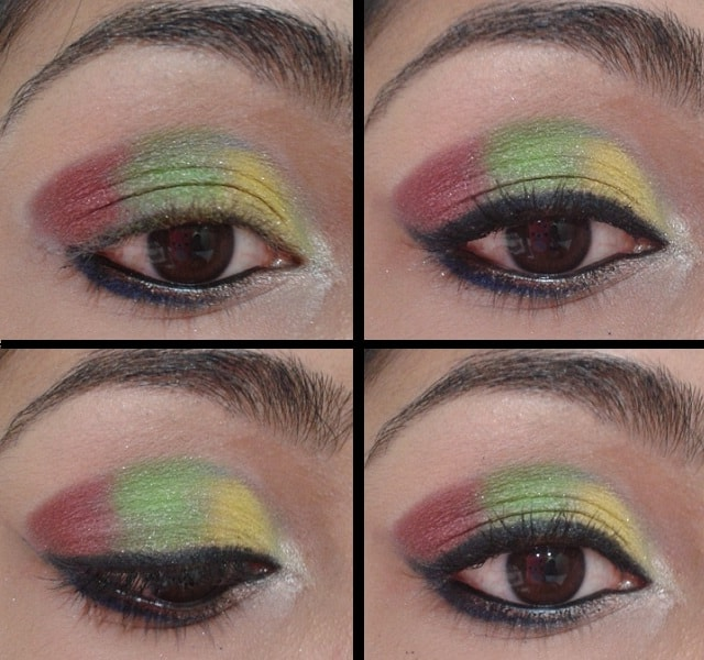 Yellow, Green and Pink Eye Makeup