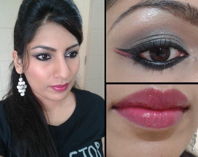 Birthday Look - Dual Winged Eye Liner & Glossy Fushcia Pink Lips