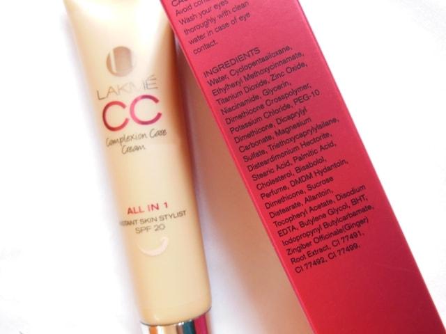 Lakme CC Complexion Care Cream Ingredients