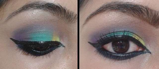 Multi Colored Eyes Makeup and Arabian Style Eye Liner
