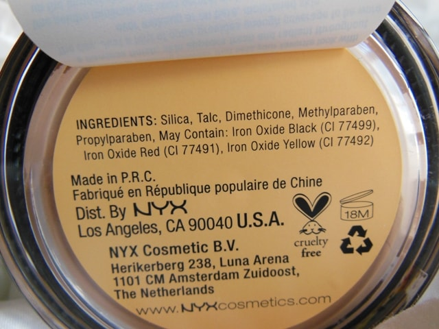 NYX Mineral Matte Finishing Powder Ingredients