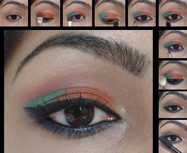 Eye Makeup Tutorial - Orange and Blue Eyes