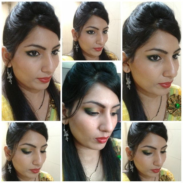 Gold and Green Eye Makeup - Karwachauth Makeup Look